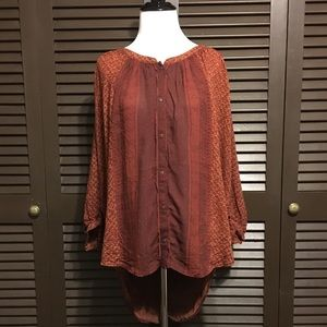 Free People Batwing Peasant Button Up Blouse